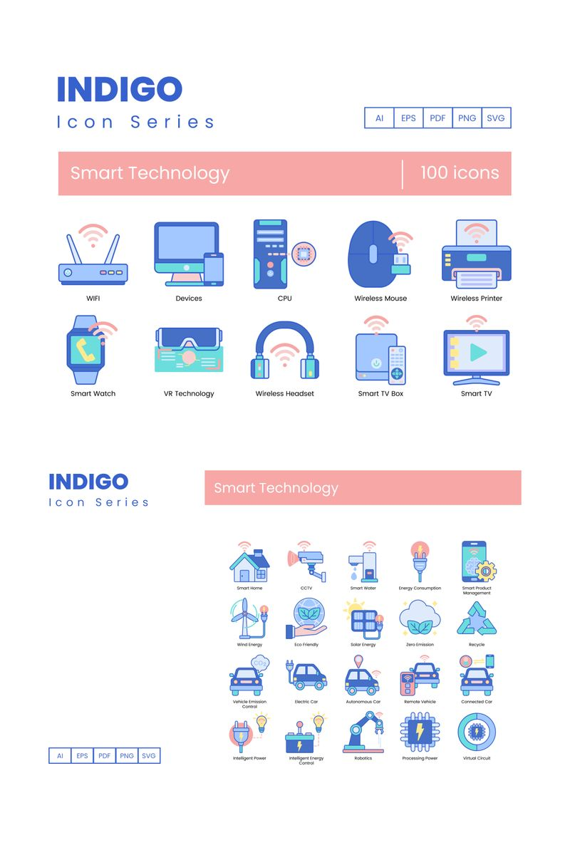 100 Smart Technology Icons - Indigo Series Iconset Template