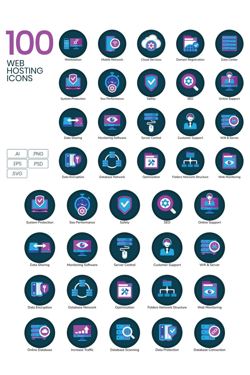 100 Web Hosting Icons - Orchid Series Iconset Template