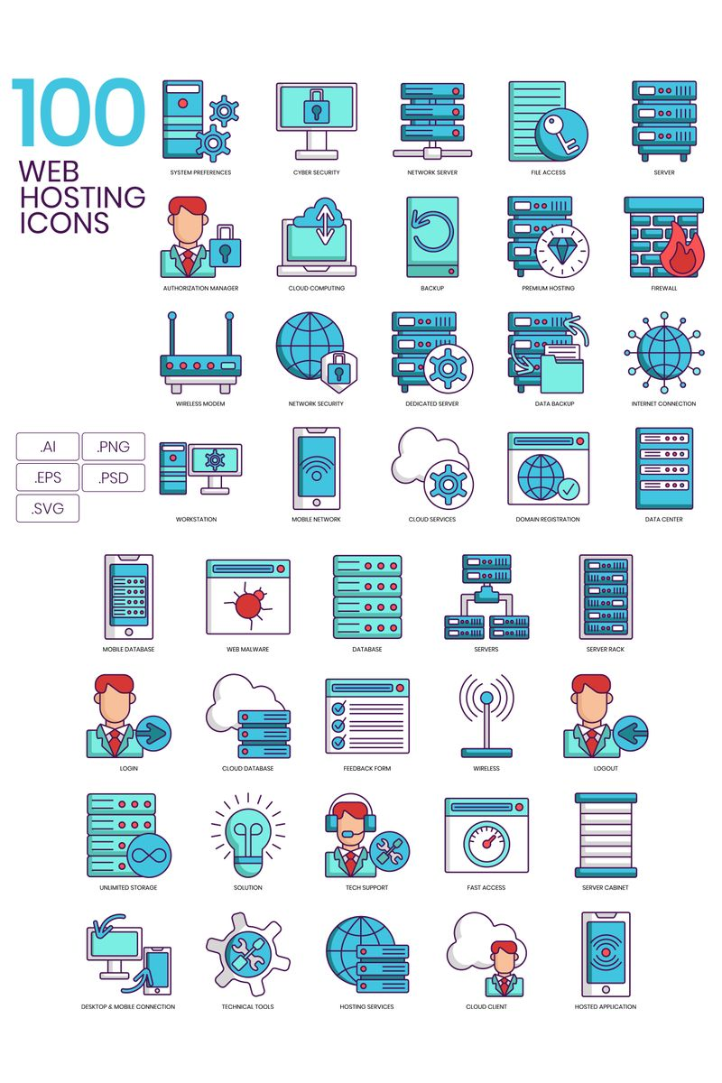 100 Web Hosting Icons - Turquoise Series Iconset Template - screenshot