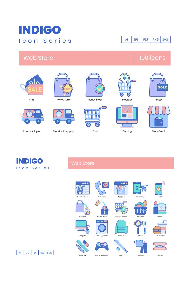 100 Web Store Icons - Indigo Series Iconset Template