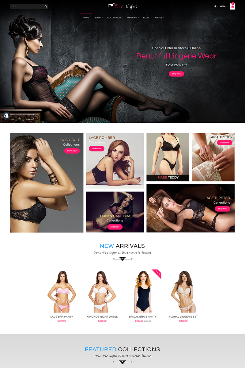 """Blue Night - Multi Purpose Shopify Theme"" Shopify Thema №91444"