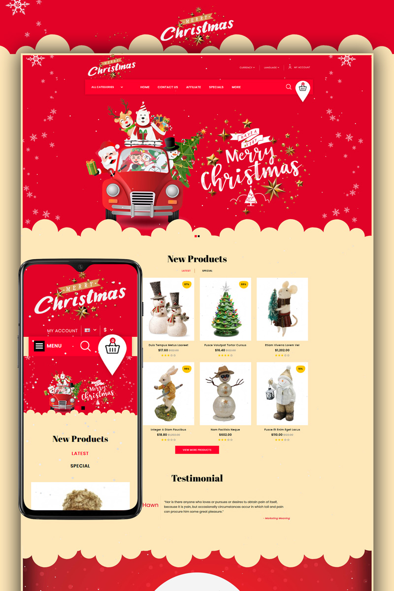 Merry-Christmas - Gift Store Template OpenCart №91445