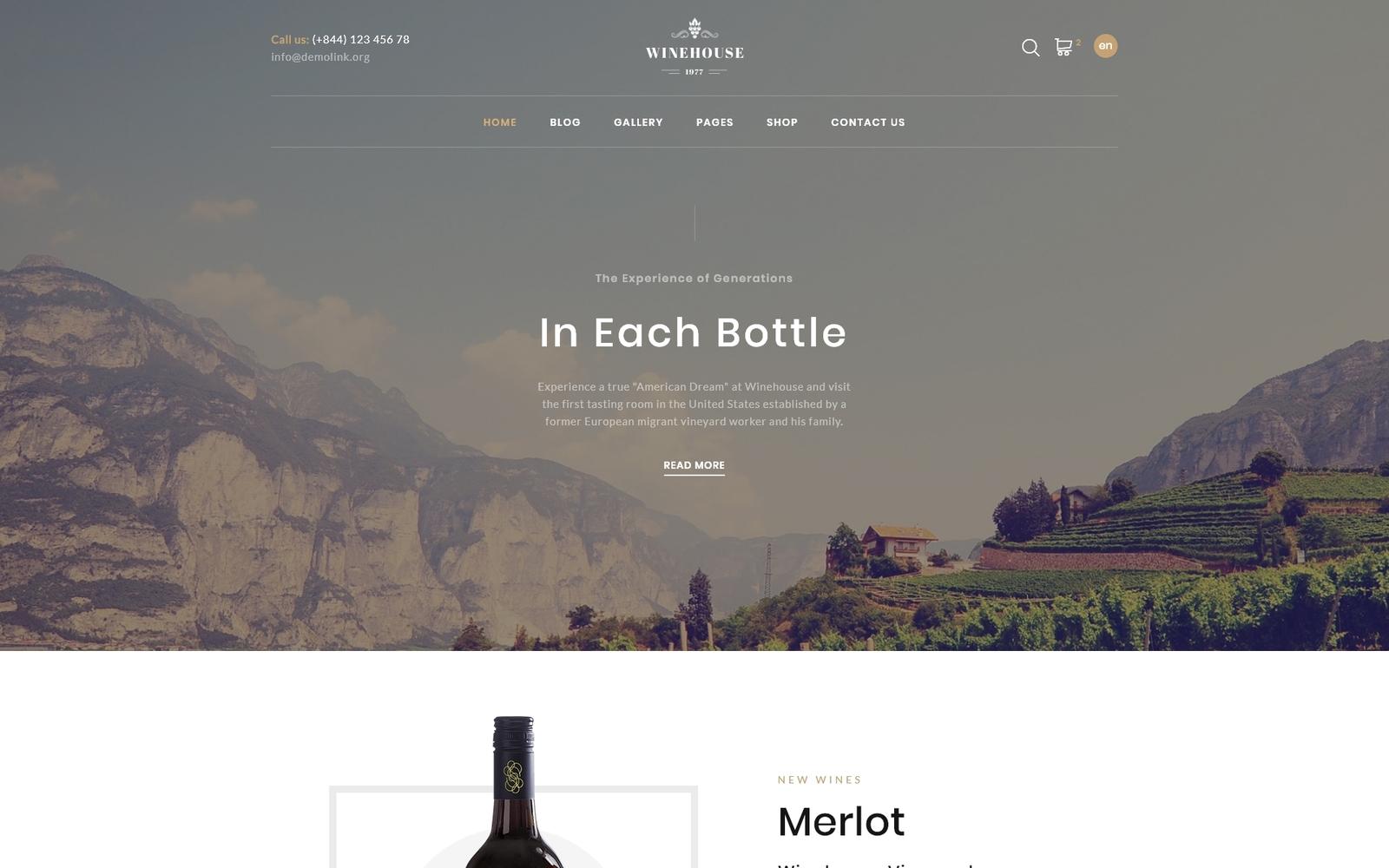 "Plantilla Web ""Winehouse - Online Wine Store"" #91590"