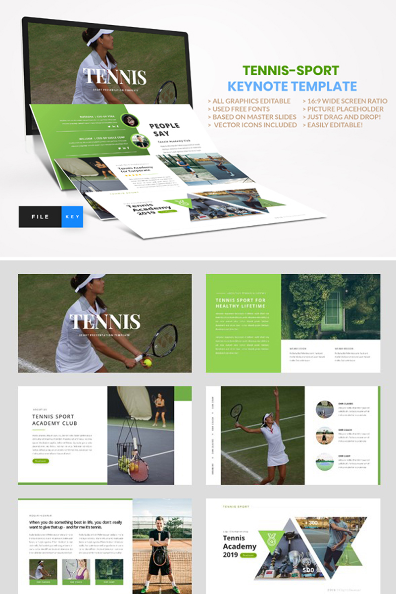 """Tennis - Sport"" - Keynote шаблон №91573"