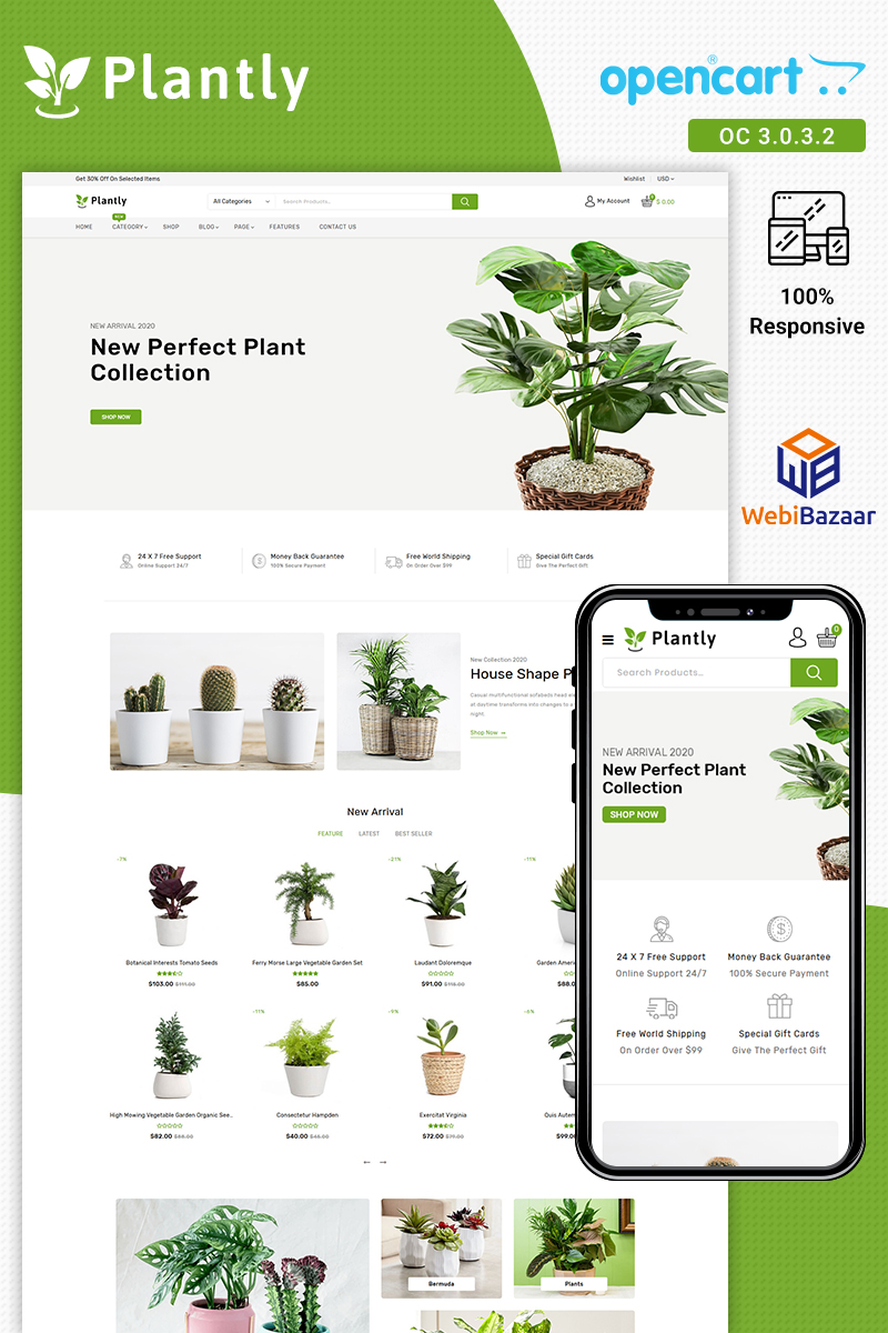 Responsive Plantly Opencart #91622