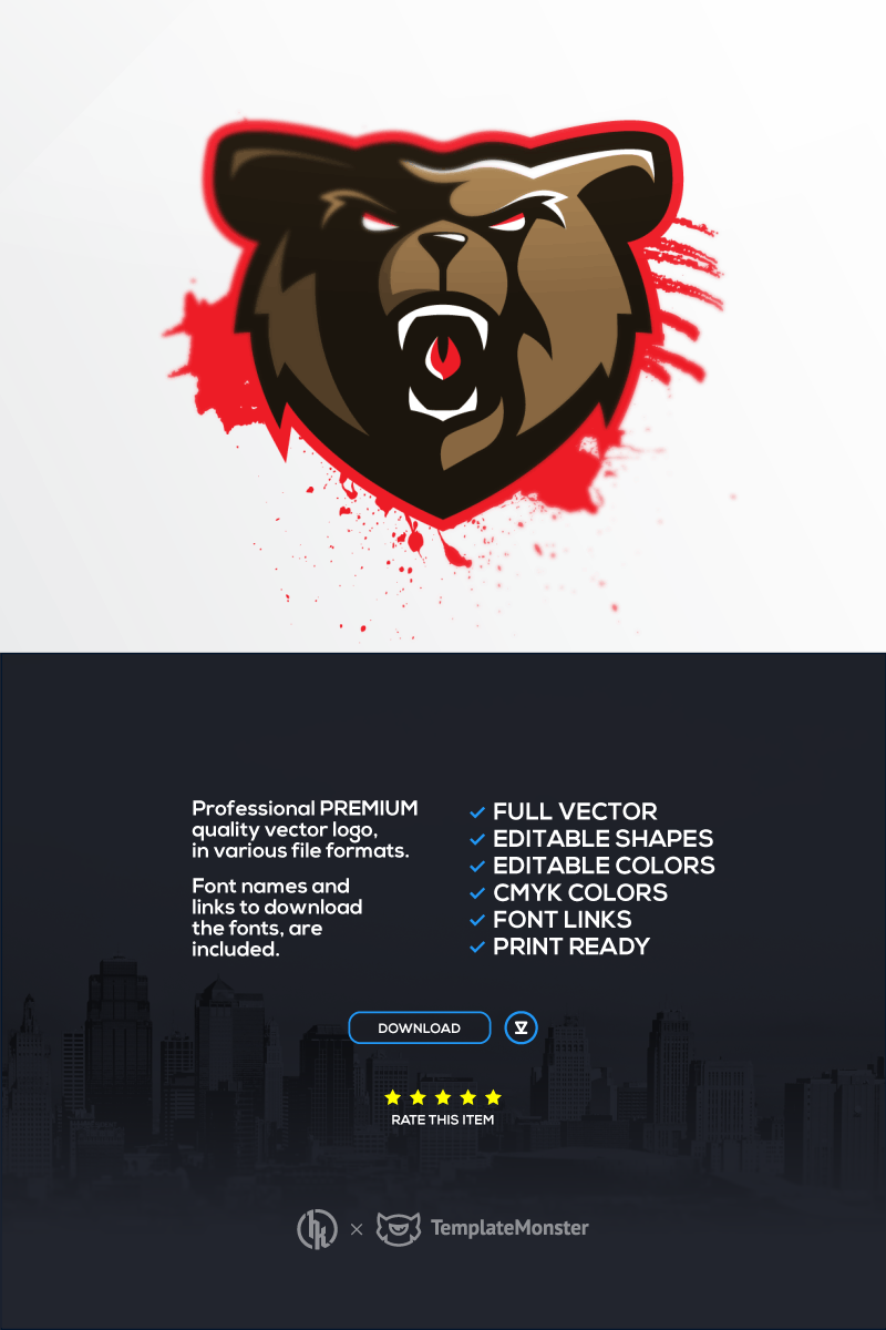 "Template di Loghi #91642 ""Bears"""