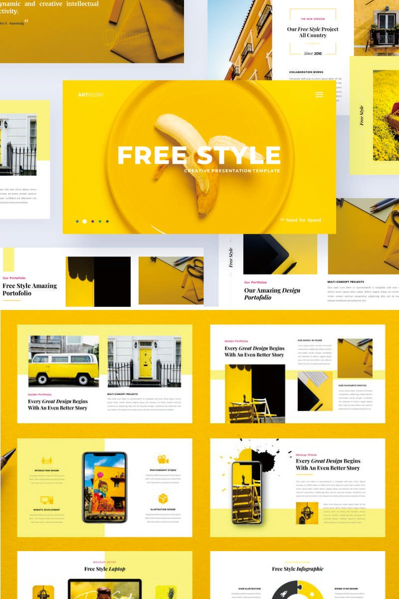 """""""Free Style - Creative Business"""" PowerPoint Template №91731"""