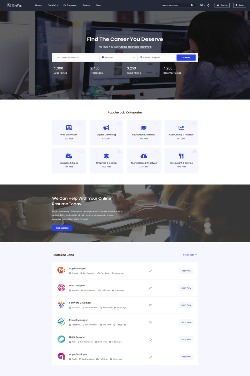 Hireyou - Job board HTML Website Template - screenshot