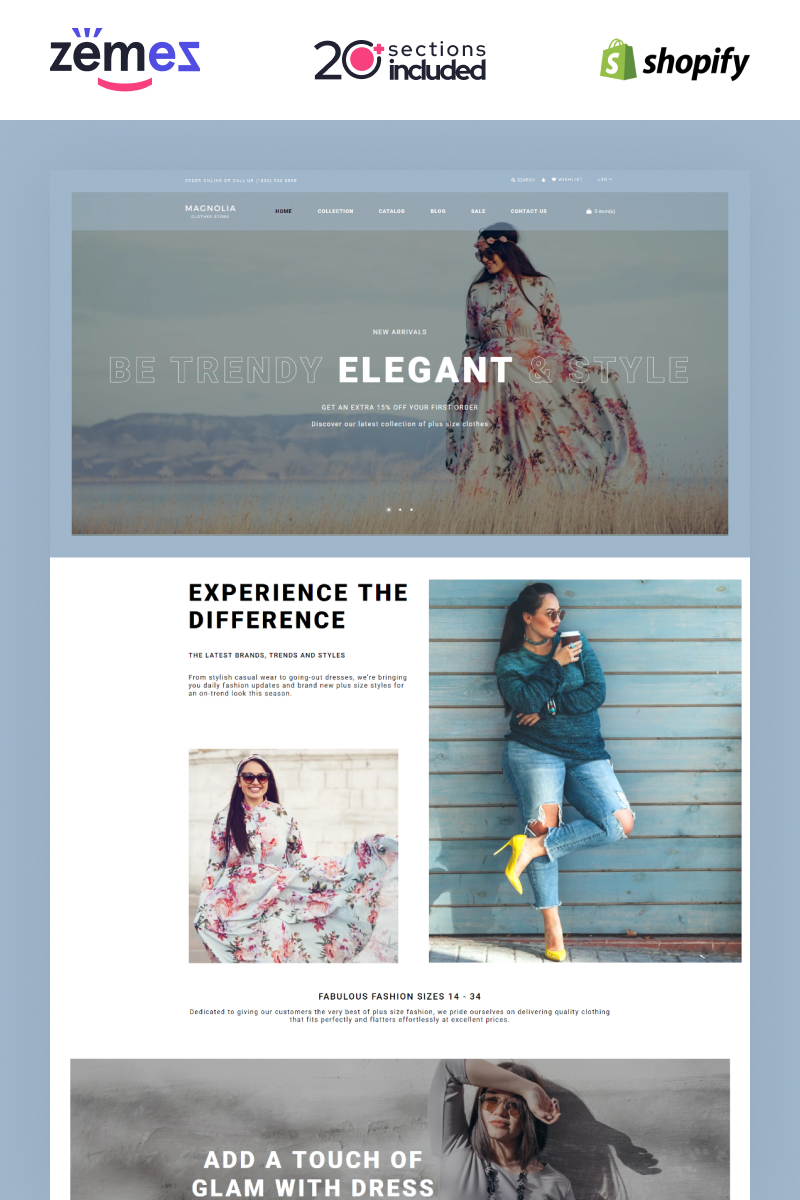 """Plus Size Clothing Store"" - адаптивний Shopify шаблон №91761"