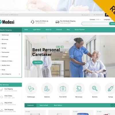 "PrestaShop шаблон ""Medexi - Medical Store PrestaShop Theme"" #91784"