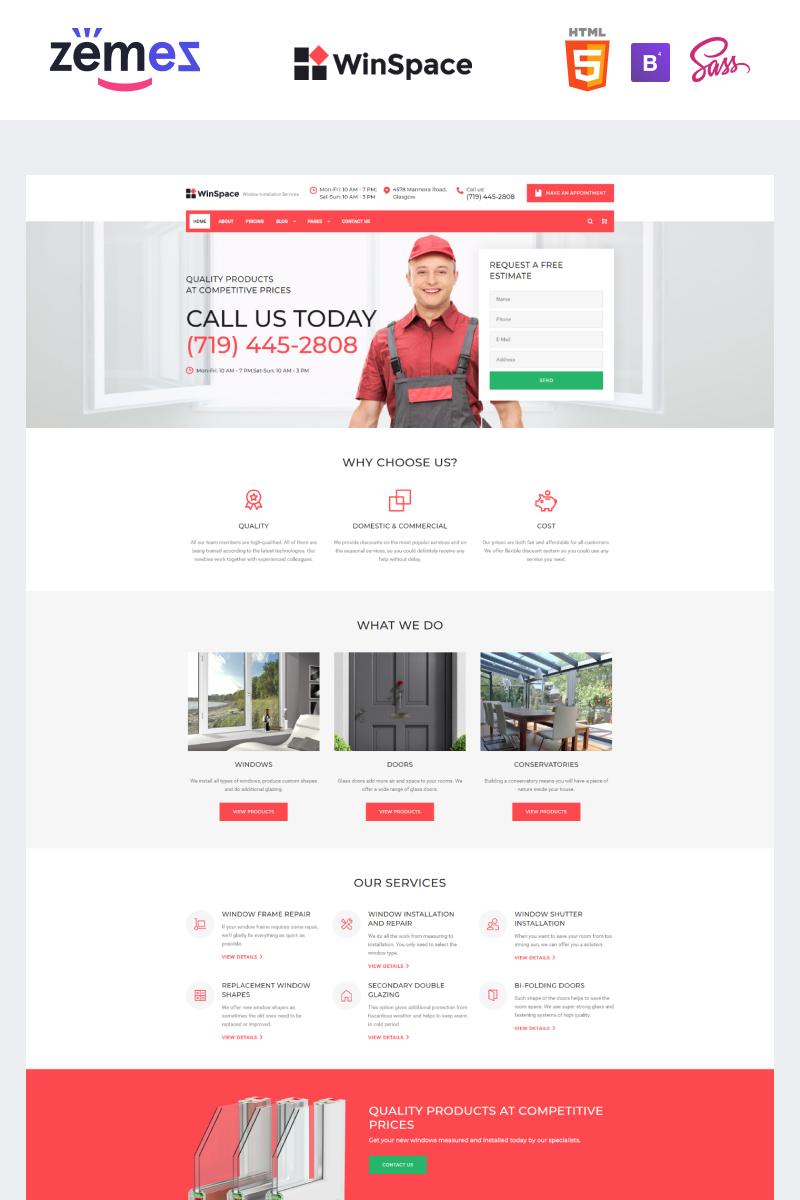 Reszponzív WinSpace - Windows Installation Company Weboldal sablon 91762
