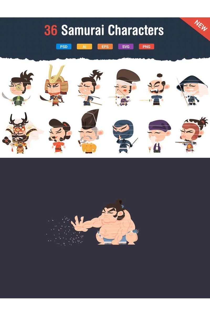 36 Samurai Characters Iconset Template