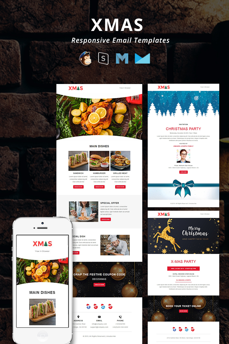 """Template di Newsletter Responsive #91783 """"X-MAS - Christmas Responsive Email"""""""