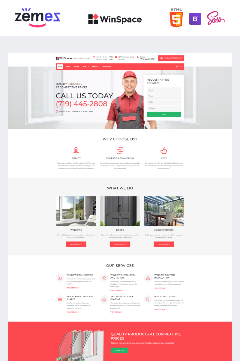 WinSpace - Windows Installation Company Website Template - screenshot