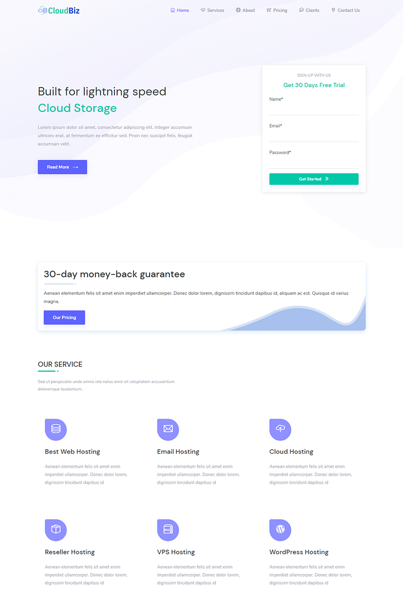 Cloudbiz - Hosting promotion Landing Page Template