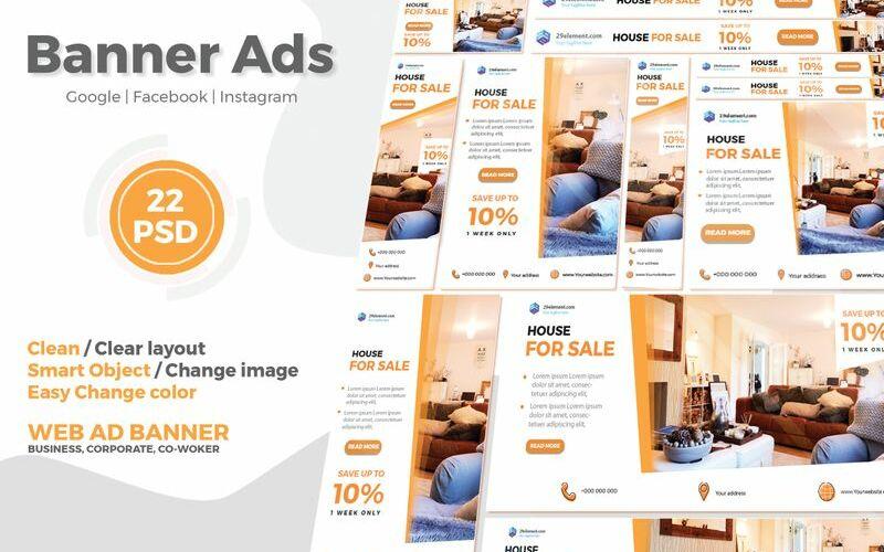 """Sociální sítě """"Real Estate Google Ads Web Banner V.1"""" #91858"""