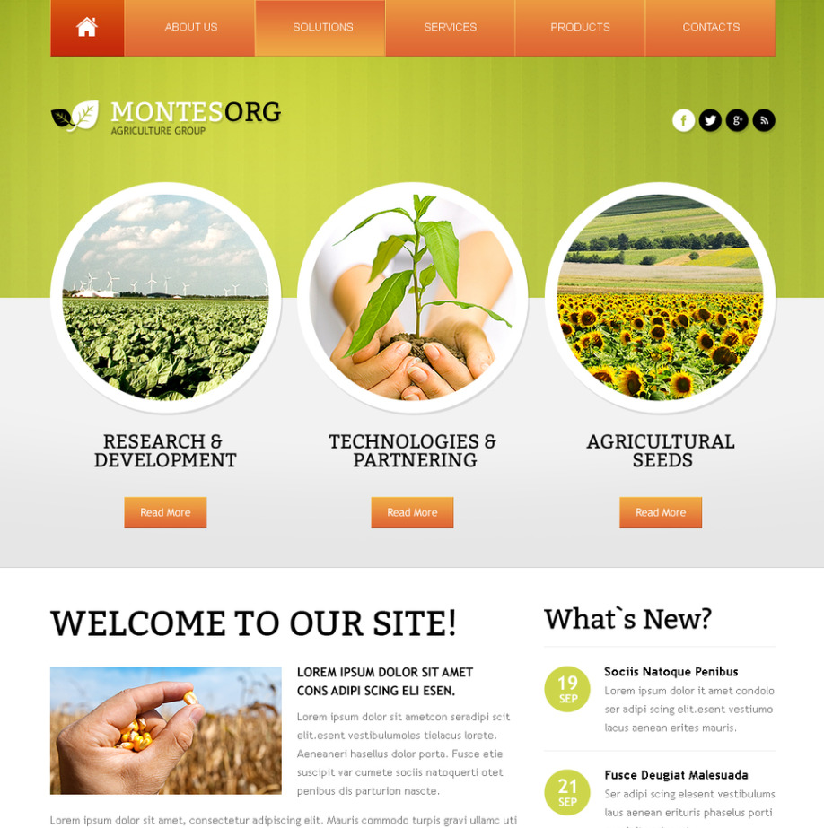 Agriculture Website Template with a Lovely Green Header | MotoCMS
