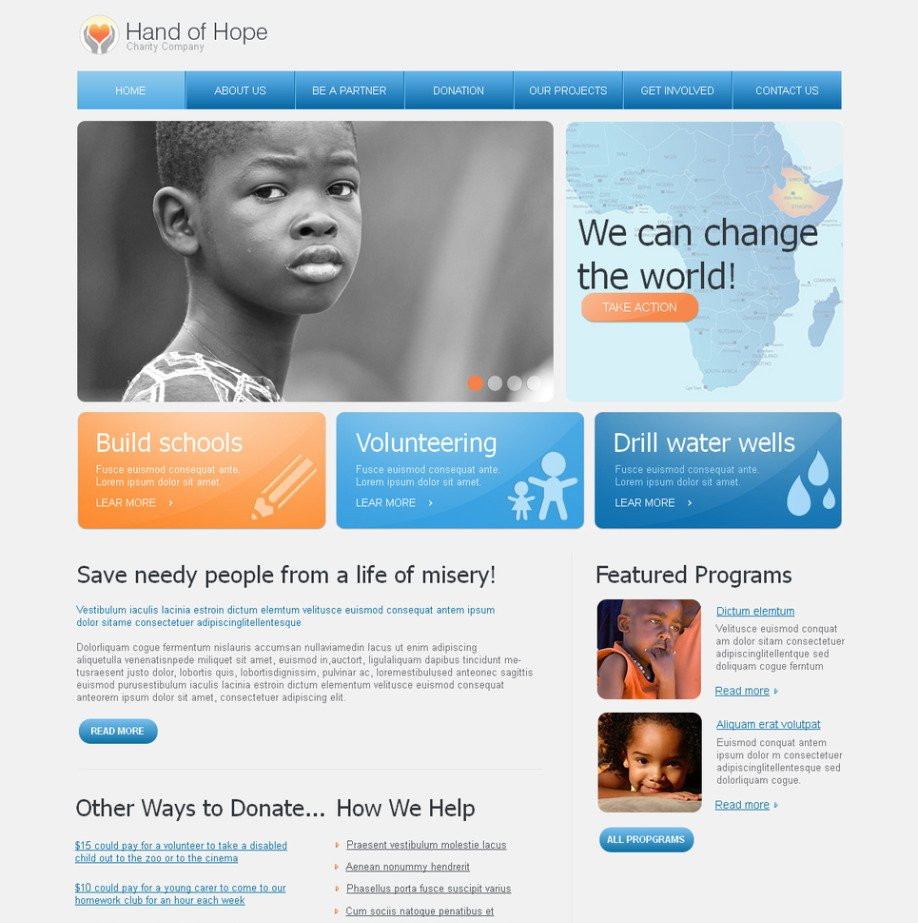 charity website template for nonprofit organizations image