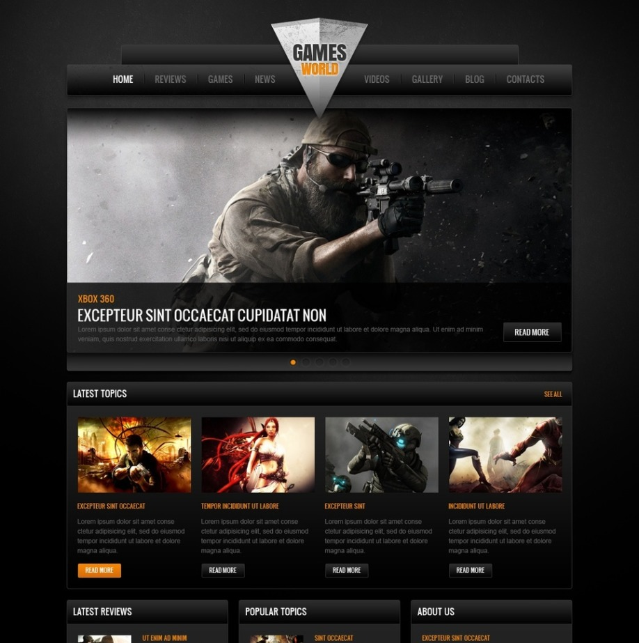 Video Games Website Template with Dark Background and Big Footer ...