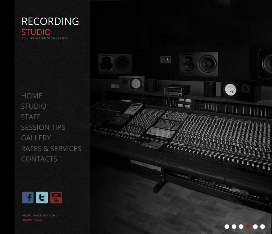 Recording Studio Website Template With A Background Gallery MotoCMS - Photo studio website template