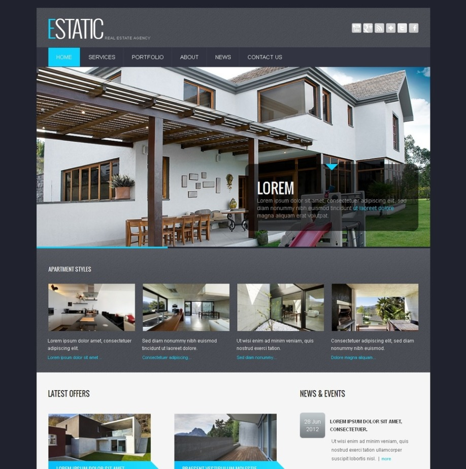 Real Estate Website Template With Image Slider And Transparency