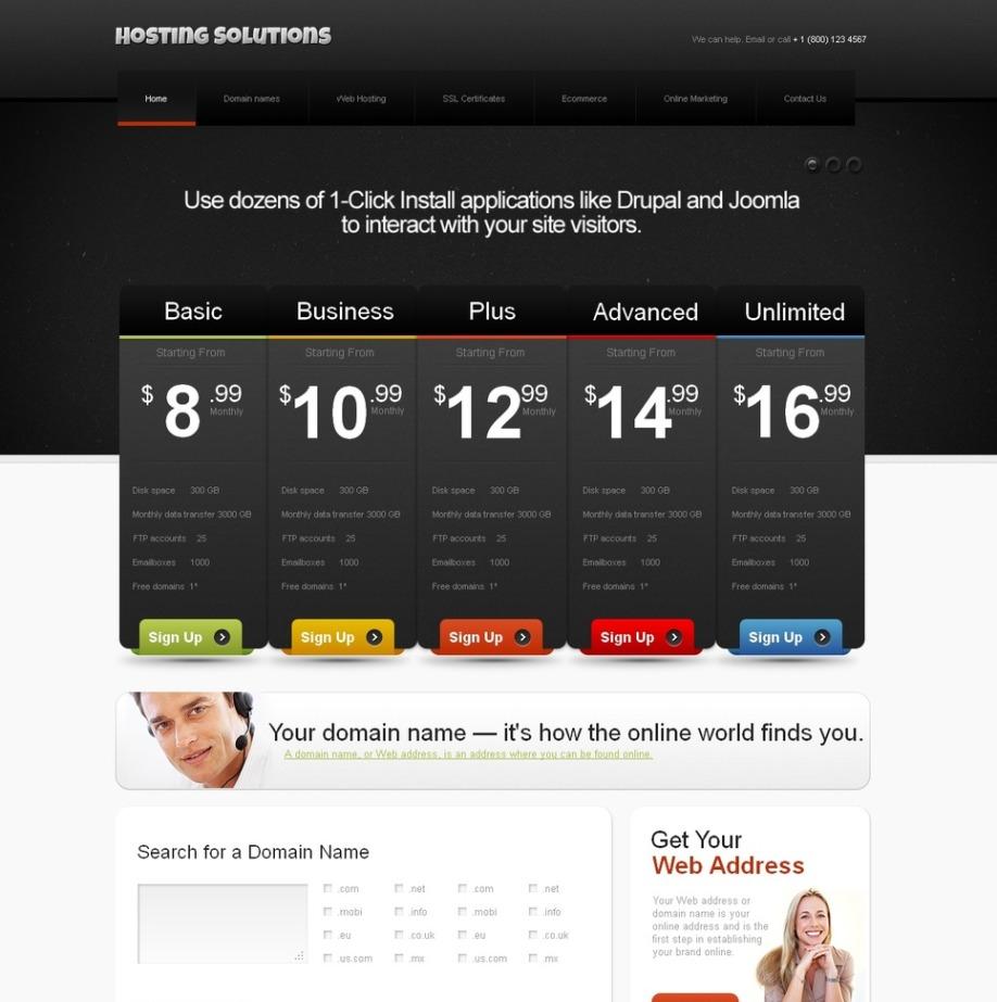 Black and White Website Template for Hosting Providers | MotoCMS