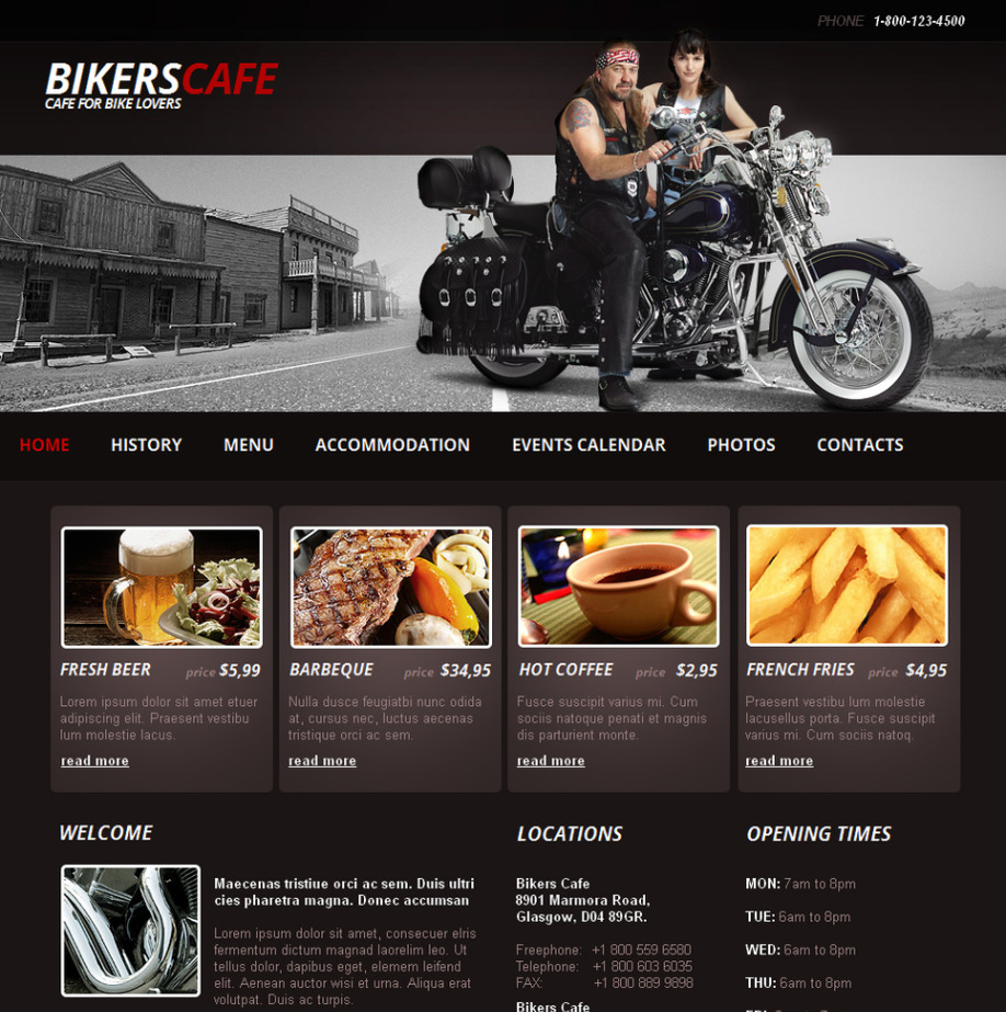 bikers cafe website template with photo gallery motocms