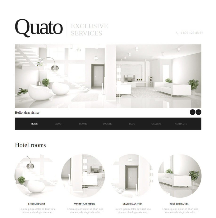 Hotel Website Template Designed In a Clean Style