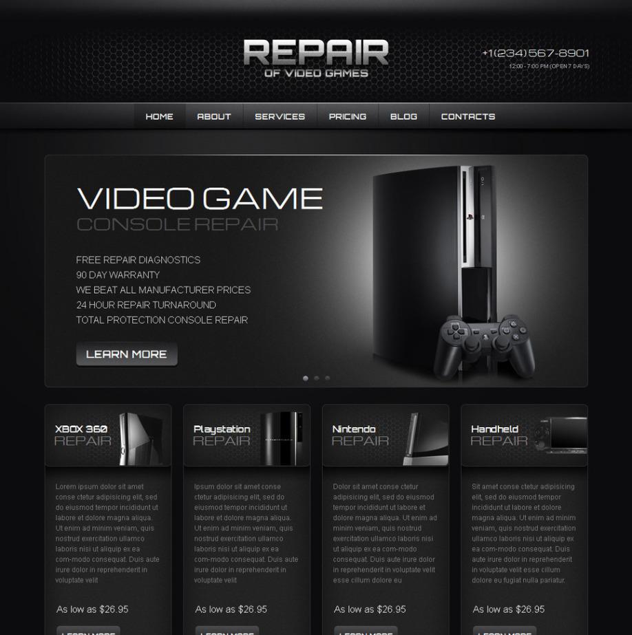 Plantilla Web HTML Repair of Video Games | MotoCMS