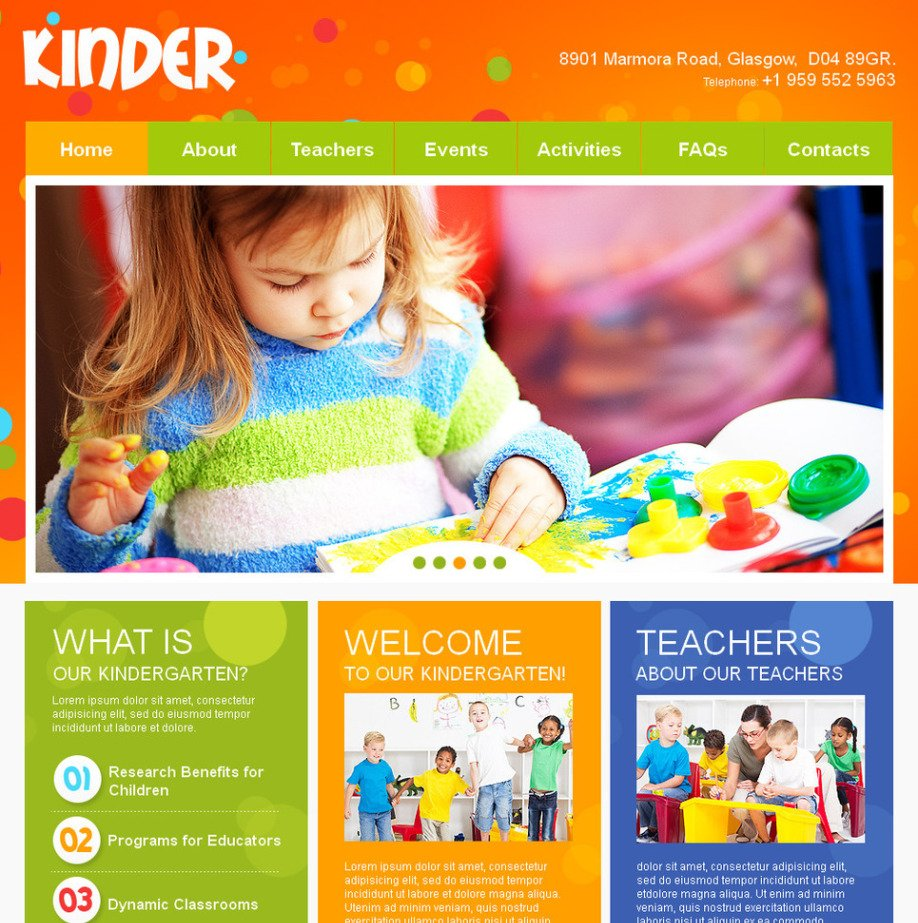 Kids And Children Day Care Website Template With Bright Background