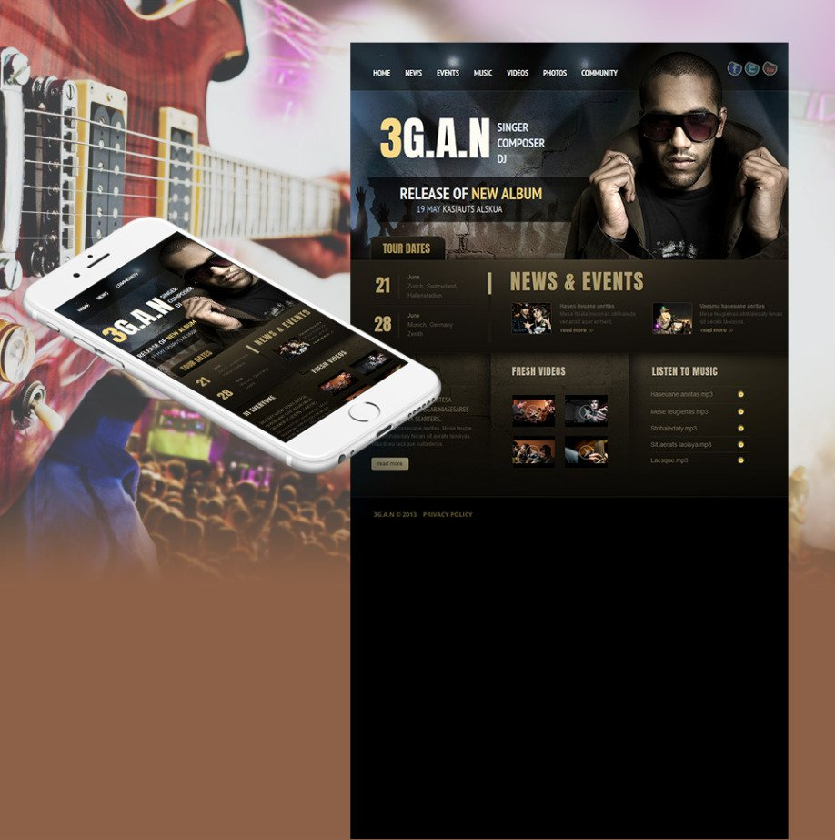 Website Template For Music Band Solo Singer Or DJ
