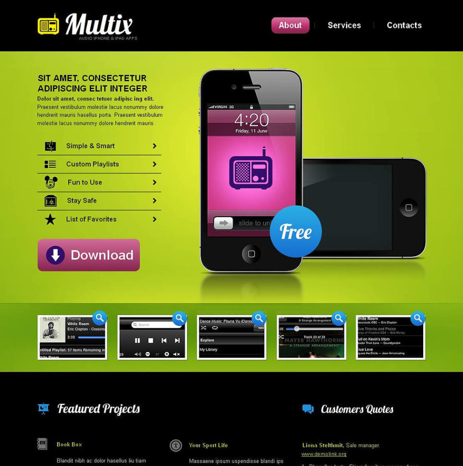 Lime-Green Website Template for Mobile Software Developers