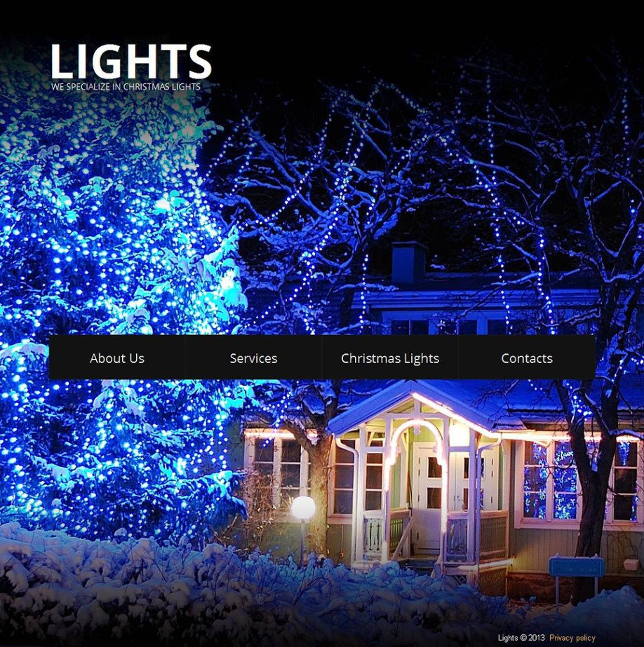 Christmas Lights Website Template For Holiday Decorating Services