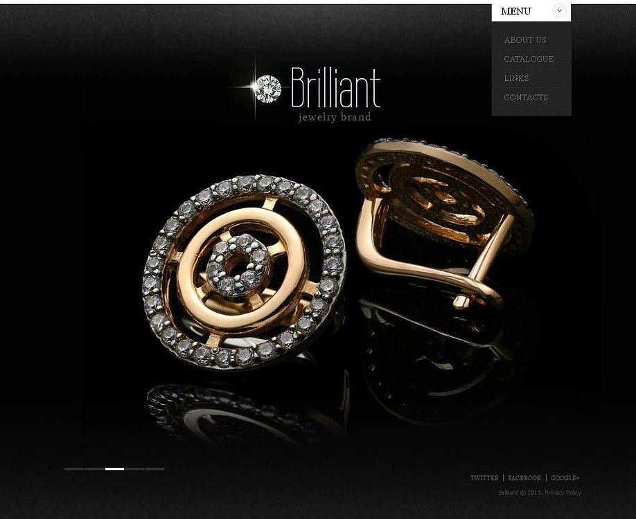 Jewelry Website Template With A Glossy Black Background Image