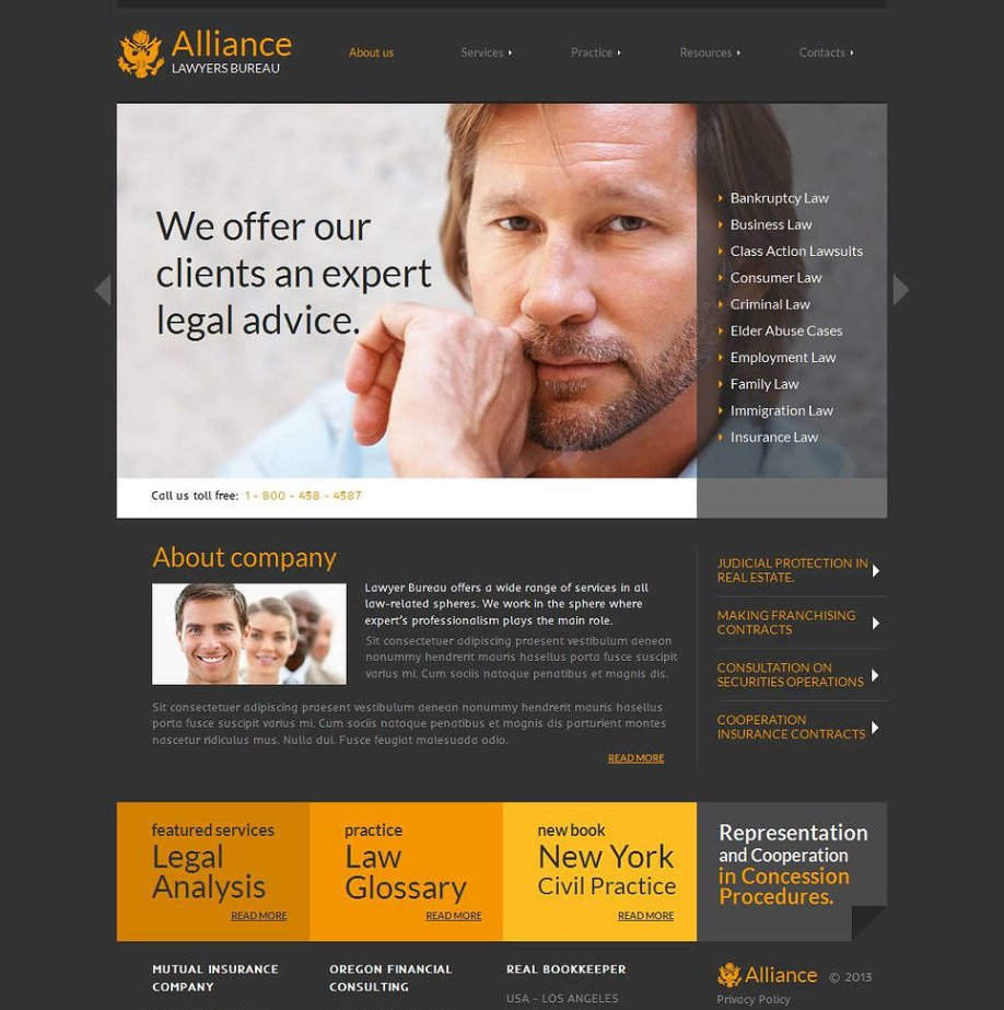 Law Firm Website Template with Dark Gray Background   MotoCMS