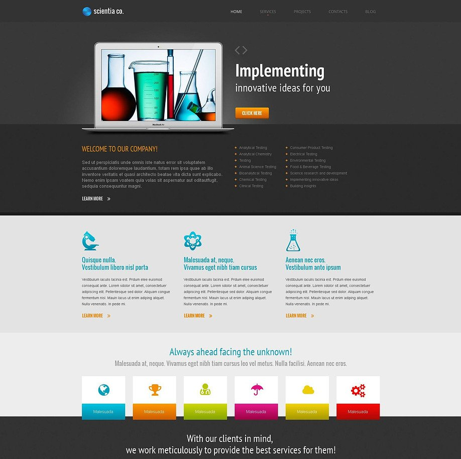 Science Lab Website Template With Creative Content Slider Image