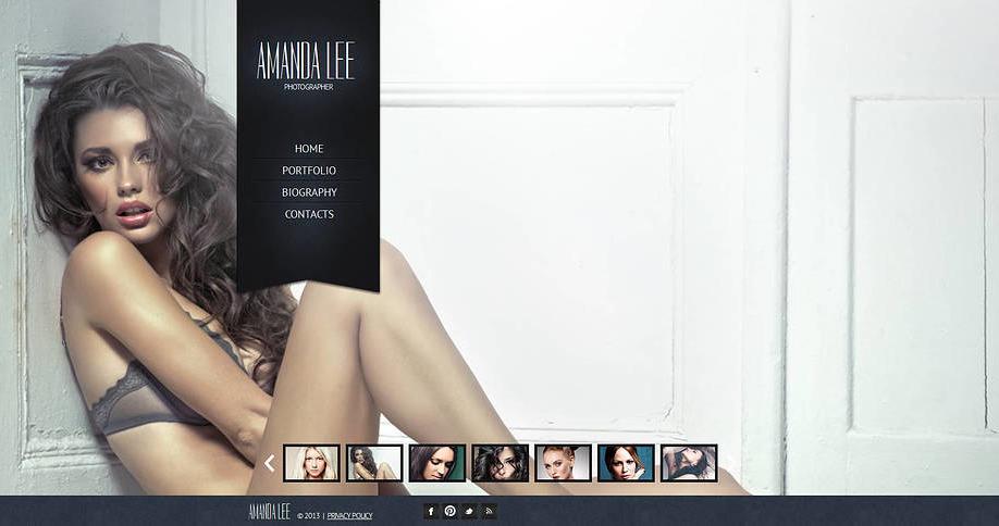 Photo Gallery Website Template with a Vertical Menu Bar