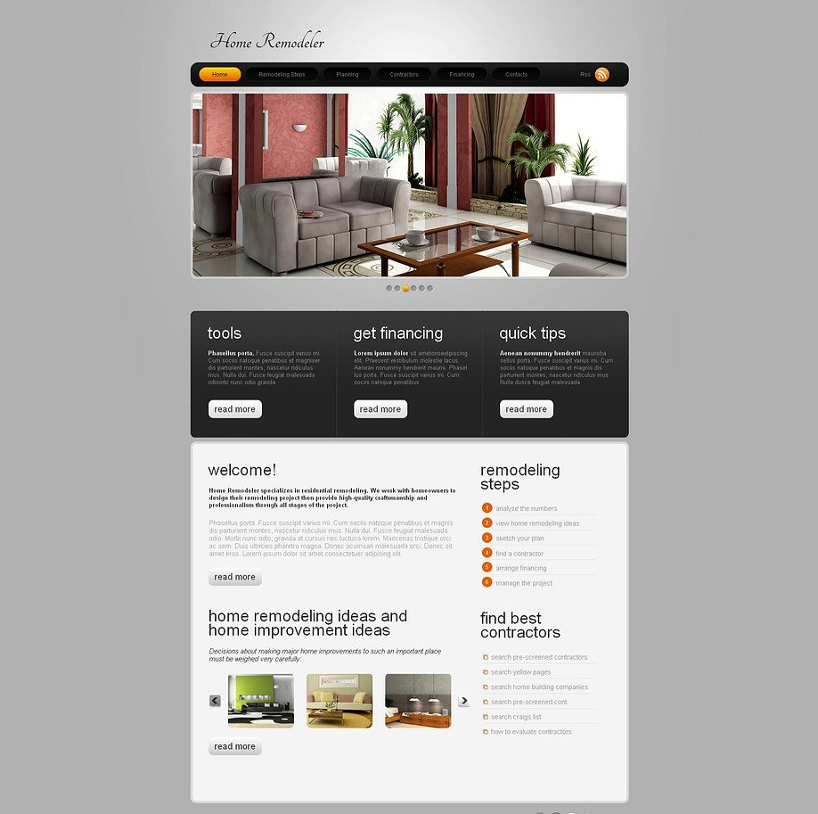 Home Remodeling Website Template With Sliding Thumbnail Gallery Image