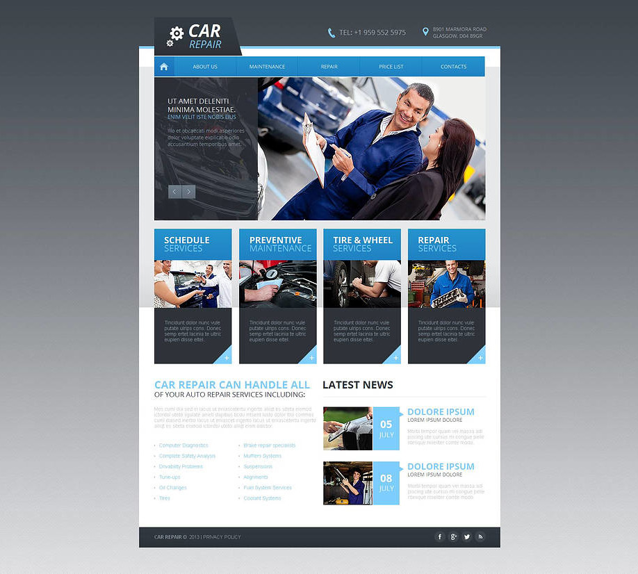 car repairs website template with jquery slider motocms