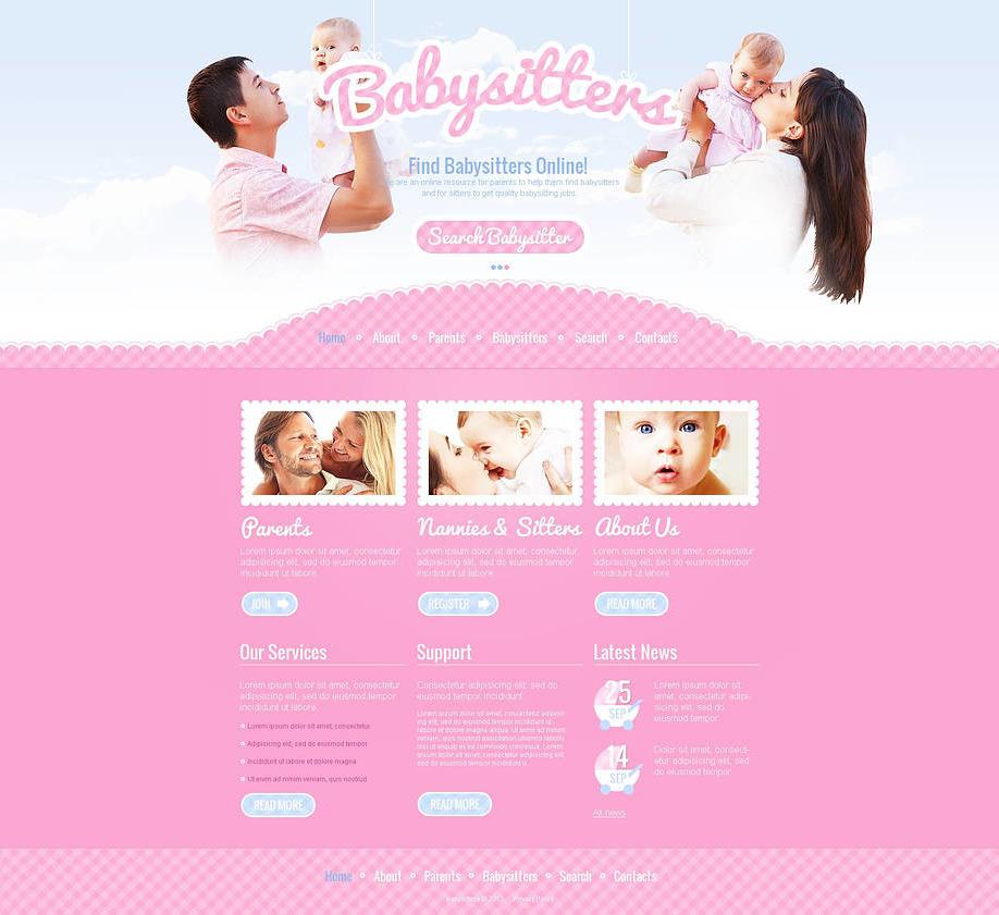 babysitter website template with jquery photo slider motocms