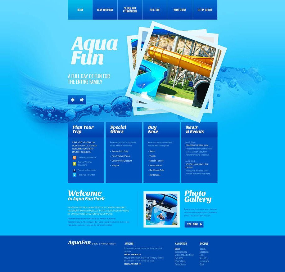 Water park website template designed in blue motocms water park website template designed in blue image maxwellsz