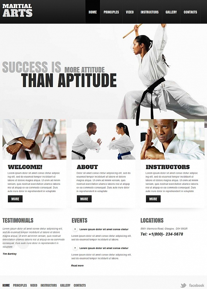 Black And White Martial Arts Website Template Image