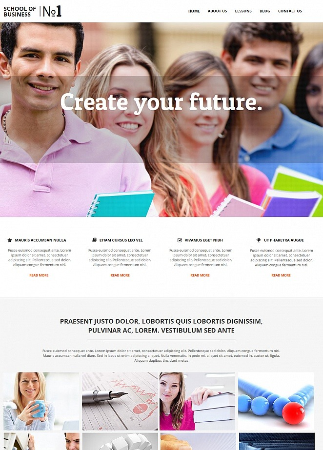 Business School Website Template with Drop-Down Menu