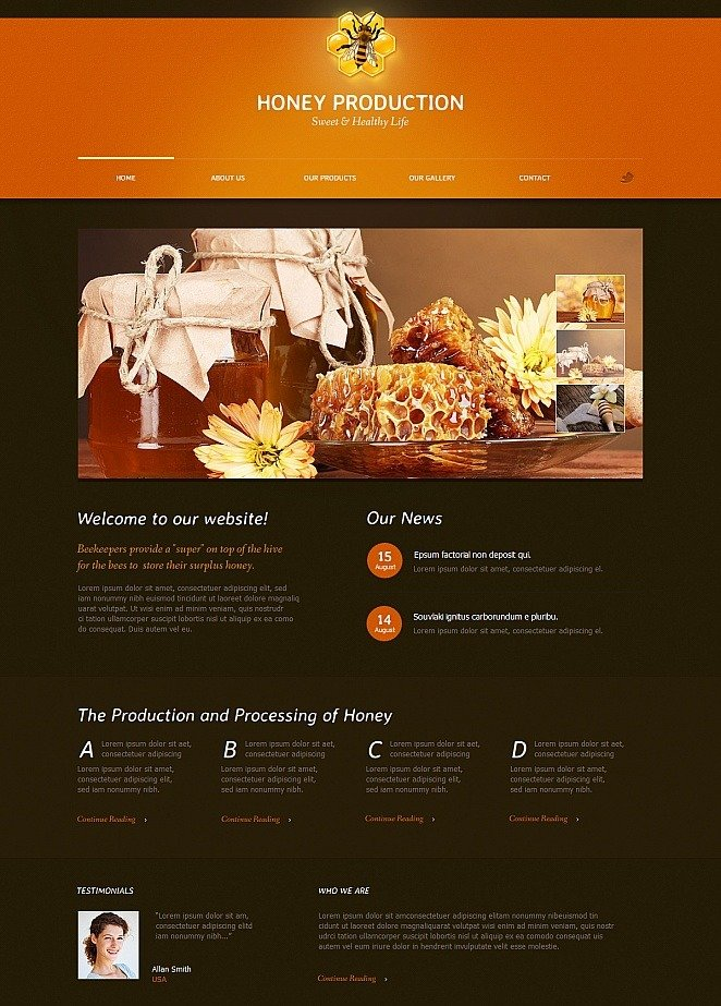 honey website template with animated jquery slider image