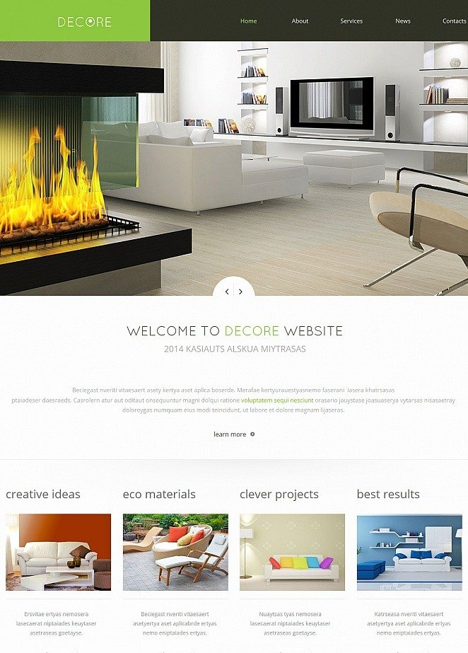 Home Decor Website Template In Minimalist Style Motocms