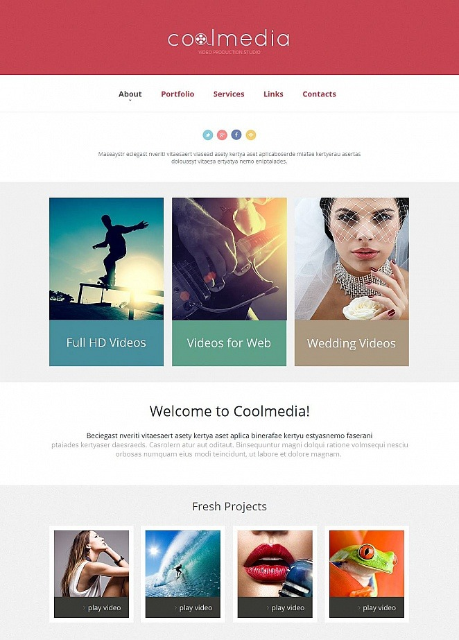 Video Production Website Template with Raspberry Pink Header | MotoCMS