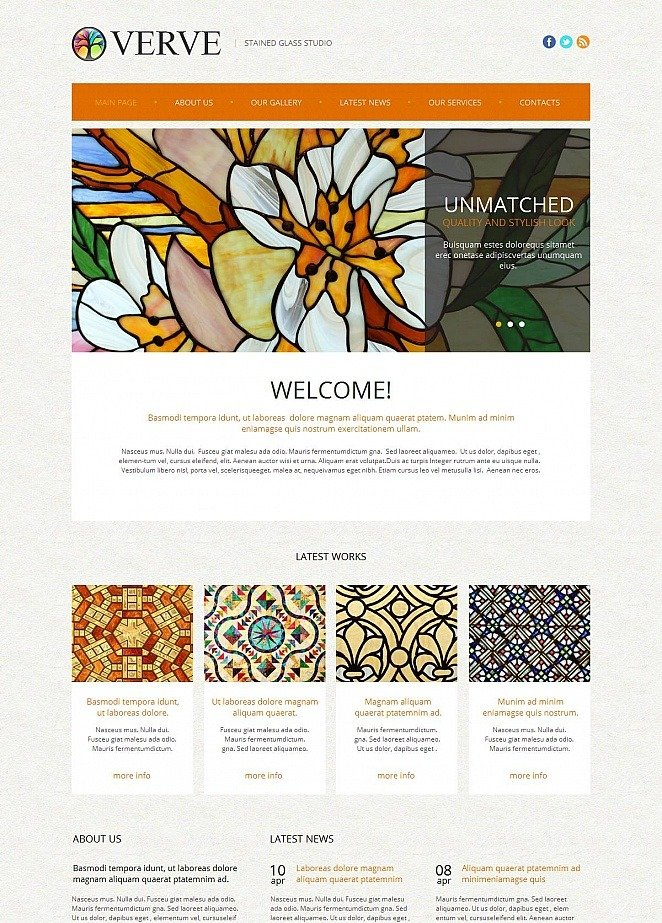 Stained Gl Art Studio Website Template Image