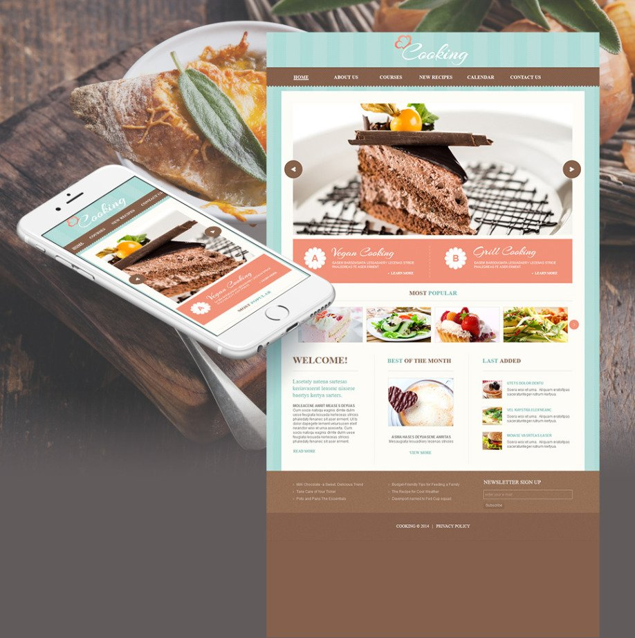 Cooking Website Template With Blue Textured Background