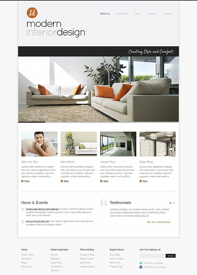 Interior Design Website Template Done In Minimalist Style MotoCMS New Interior Designing Courses In Usa Minimalist