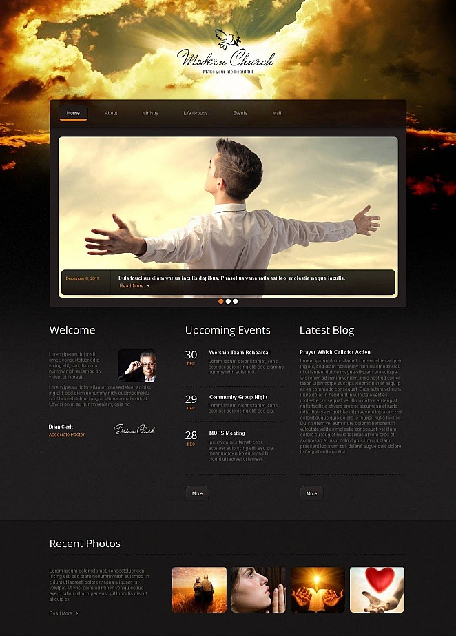 Black Website Template For Modern Church Motocms